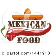 Clipart Of A Mexican Sombrero Hat With A Chili Pepper And Mexican Food Text Royalty Free Vector Illustration by Vector Tradition SM