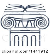 Clipart Of A Blue Open Law Book Over A Greek Or Roman Column Pillar Royalty Free Vector Illustration by Vector Tradition SM