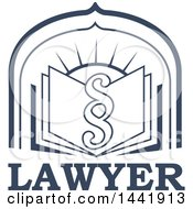 Clipart Of A Pargraph Clause Or Section Symbol Over A Legal Book And Sun Over Lawyer Text Royalty Free Vector Illustration