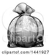 Black And White Engraved Or Woodcut Styled Burlap Money Bag Sack