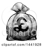 Black And White Engraved Or Woodcut Styled Euro Burlap Money Bag Sack