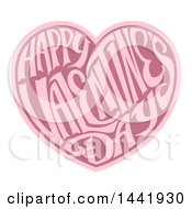 Clipart Of A Two Toned Love Heart With Happy Valentines Day Text In Side Royalty Free Vector Illustration by AtStockIllustration