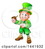 Clipart Of A Cartoon Friendly St Patricks Day Leprechaun Smoking A Pipe And Pointing Royalty Free Vector Illustration by AtStockIllustration