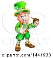 Clipart Of A Cartoon Friendly St Patricks Day Leprechaun Smoking A Pipe And Giving A Thumb Up Royalty Free Vector Illustration by AtStockIllustration