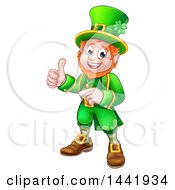 Clipart Of A Cartoon Friendly St Patricks Day Leprechaun Pointing And Giving A Thumb Up Royalty Free Vector Illustration by AtStockIllustration