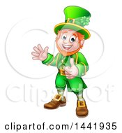 Clipart Of A Cartoon Friendly St Patricks Day Leprechaun Waving And Giving A Thumb Up Royalty Free Vector Illustration by AtStockIllustration