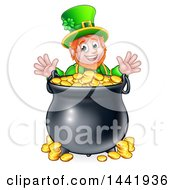 Clipart Of A Cartoon Friendly St Patricks Day Leprechaun With A Pot Of Gold Royalty Free Vector Illustration by AtStockIllustration