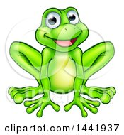 Cartoon Happy Green Frog Mascot Sitting