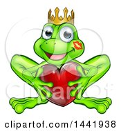 Clipart Of A Cartoon Happy Smiling Green Frog With A Liptstick Kiss On His Cheek Holding A Red Heart Royalty Free Vector Illustration