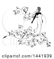 Silhouetted Black And White Bride In Her Dress With Swirls