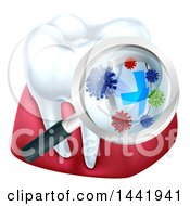 Clipart Of A Magnifying Glass Over A Tooth And Gums Displaying Bacteria And A Shield Royalty Free Vector Illustration by AtStockIllustration