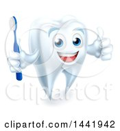 Clipart Of A Happy White Tooth Mascot Holding A Toothbrush And Giving A Thumb Up Royalty Free Vector Illustration