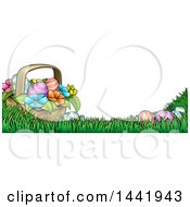 Cartoon Border Of A Basket Of Easter Eggs And Flowers In Grass