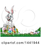 Cartoon Happy White Easter Bunny Rabbit With A Basket And Eggs