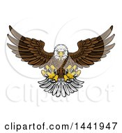 Cartoon Fierce Swooping Bald Eagle With Talons Extended Flying Forward