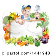 Cartoon Happy White Male Gardener In Blue Holding A Garden Trowel And Giving A Thumb Up Over A White Sign With Produce