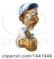 Poster, Art Print Of Cartoon Happy Black Male Worker Giving A Thumb Up Around A Sign