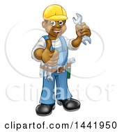 Cartoon Full Length Happy Black Male Mechanic Holding Up A Wrench And Giving A Thumb Up