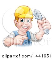 Clipart Of A Cartoon Happy White Male Plumber Wearing A Hardhat Holding An Adjustable Wrench And Pointing Royalty Free Vector Illustration