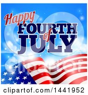 Clipart Of A 3d American Flag And Fourth Of July Text Over Blue Sky With Flares Royalty Free Vector Illustration