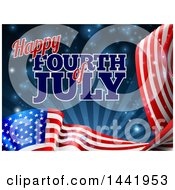 3d Long American Flag And Fourth Of July Text Over Dark Blue Sky With Rays And Flares