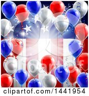 Poster, Art Print Of 3d Border Of Red White And Blue Party Balloons And Streamers Over A Patriotic American Themed Flag