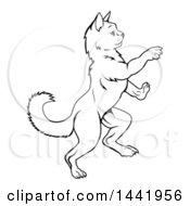 Black And White Lineart Heraldic Rearing Rampant Cat