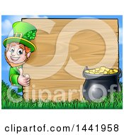 Clipart Of A Cartoon St Patricks Day Leprechaun Giving A Thumb Up Around A Wood Sign With A Pot Of Gold Royalty Free Vector Illustration by AtStockIllustration