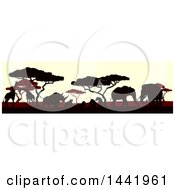 Clipart Of Silhouetted African Animals And Trees At Sunset Royalty Free Vector Illustration by AtStockIllustration