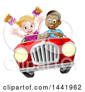 Poster, Art Print Of Happy Black Boy Driving A Red Convertible Car And A White Girl Holding Her Arms Up In The Passenger Seat As They Catch Air