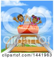 Happy Black Boy And Girl At The Top Of A Roller Coaster Ride Against A Blue Sky With Clouds