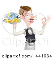White Male Waiter Or Butler With A Curling Mustache Holding Fish And A Chips On A Tray And Gesturing Ok