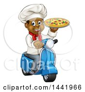 Clipart Of A Cartoon Happy Black Male Chef Holding A Pizza And Riding A Scooter Royalty Free Vector Illustration by AtStockIllustration