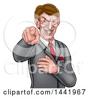 Cartoon Grinning Evil White Business Man Pointing His Finger Outwards