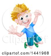 Clipart Of A Cartoon Happy Excited Blond Caucasian Boy Jumping Royalty Free Vector Illustration