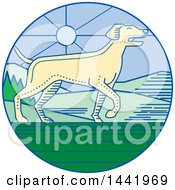 Mono Line Styled Pointer Dog In A Landscape Circle