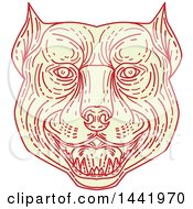 Poster, Art Print Of Mono Line Styled Angry Pitbull Dog Head