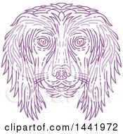 Clipart Of A Mono Line Styled Purple Cocker Spaniel Dog Face Royalty Free Vector Illustration