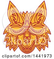 Mono Line Styled Coyote Wolf Face With Sunglasses