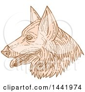 Clipart Of A Mono Line Styled German Shepherd Dog Dog In Profile Royalty Free Vector Illustration by patrimonio