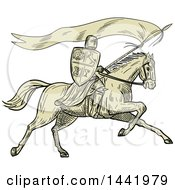 Clipart Of A Retro Sketched Horseback Knight Holding A Lance Shield And Flag Royalty Free Vector Illustration