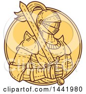 Clipart Of A Mono Line Styled Male Knight In Armor Holding A Sword Inside A Circle Royalty Free Vector Illustration
