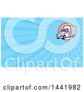 Clipart Of A Retro Cartoon Male Delivery Driver Giving A Thumb Up And Blue Rays Background Or Business Card Design Royalty Free Illustration by patrimonio