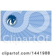 Clipart Of A Retro War Horse Head In A Gear Circle And Blue Rays Background Or Business Card Design Royalty Free Illustration