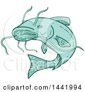 Clipart Of A Mono Line Styled Jumping Catfish Royalty Free Vector Illustration by patrimonio