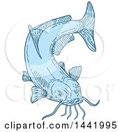 Clipart Of A Mono Line Styled Blue Catfish Royalty Free Vector Illustration by patrimonio