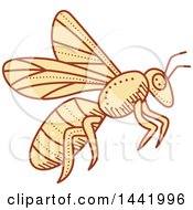 Clipart Of A Mono Line Styled Flying Bee Royalty Free Vector Illustration