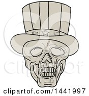 Clipart Of A Sketched Uncle Sam Skull Wearing A Top Hat Royalty Free Vector Illustration