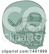 Clipart Of A Sketched Green Football Player Skull And Helmet Royalty Free Vector Illustration