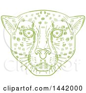 Clipart Of A Mono Line Styled Green Cheetah Face Royalty Free Vector Illustration